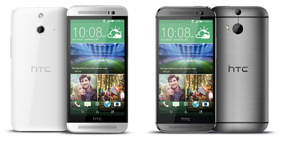 Seeing double: The HTC One E8 (left)