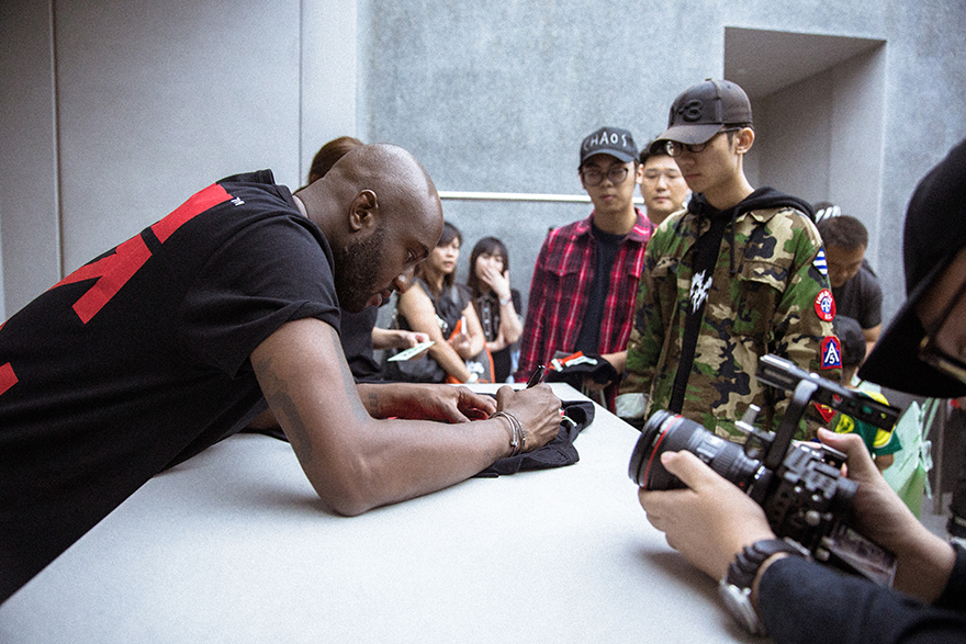 Virgil Abloh at the Off-White Singapore store