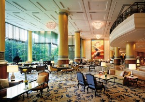 Makati Shangri-La Manila, where a 14-piece orchestra plays in the lobby lounge