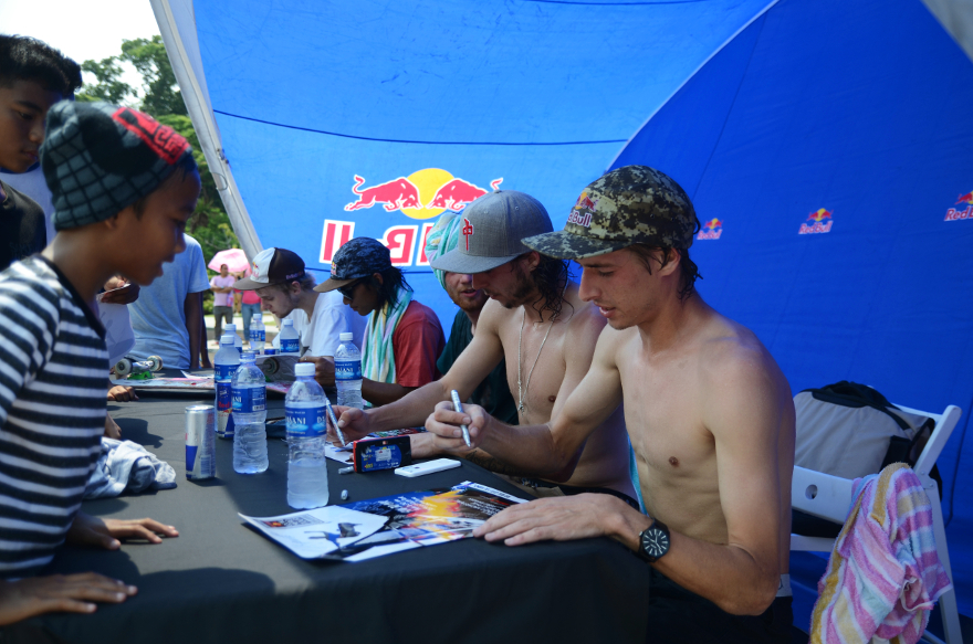 Young skaters meeting their skateboard heroes