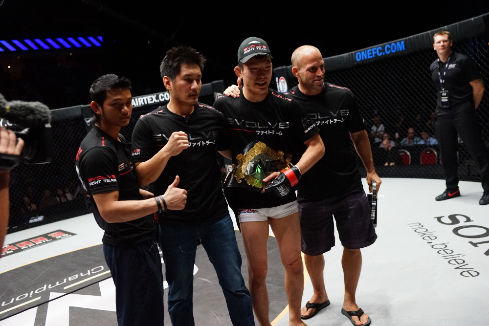 ONE FC Lightweight World Champion Shinya Aoki (third from left) is both teammate and friend to Eddie Ng; Image courtesy of ONE Fighting Championship