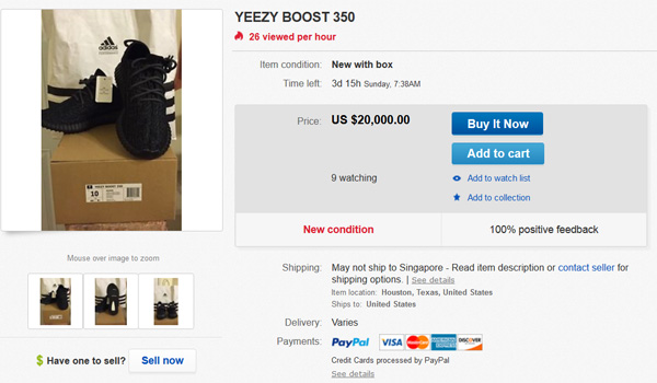 low priced 57885 24f24 Yeezy Boost 350 Going for $20K on eBay - Straatosphere