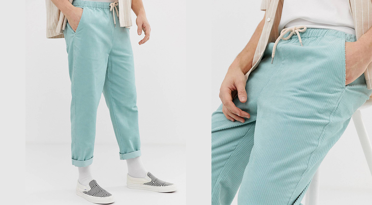 ASOS Labour Day Sale cropped trousers pastel blue cord