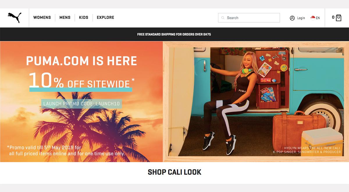 Puma Singapore Online Store launch homepage