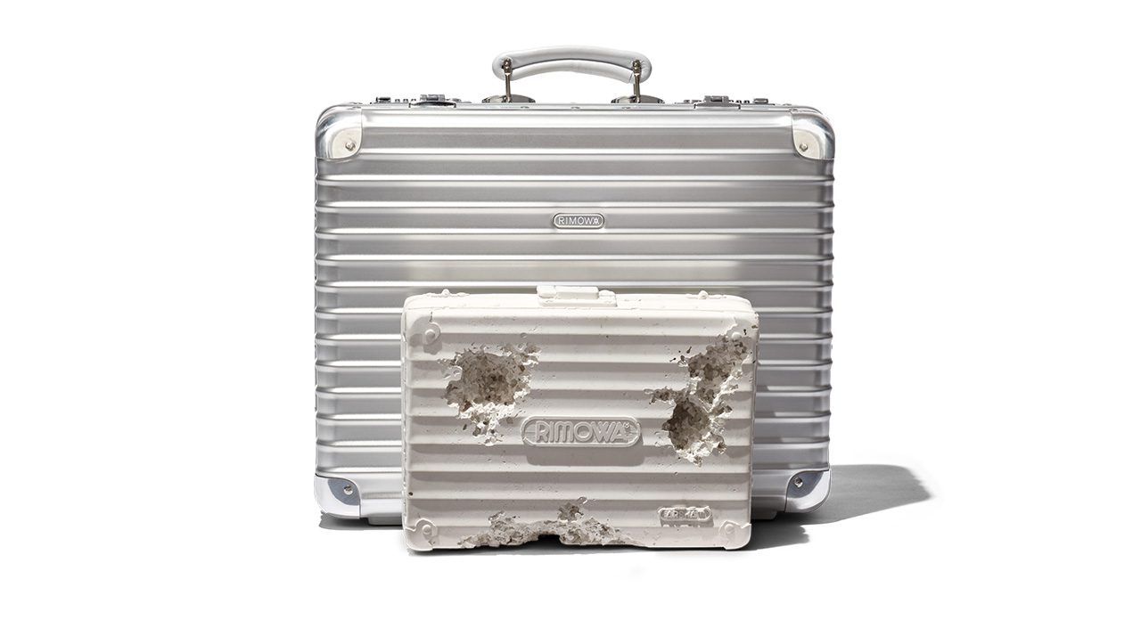 rimowa x daniel arsham classic attache and eroded suitcase sculpture