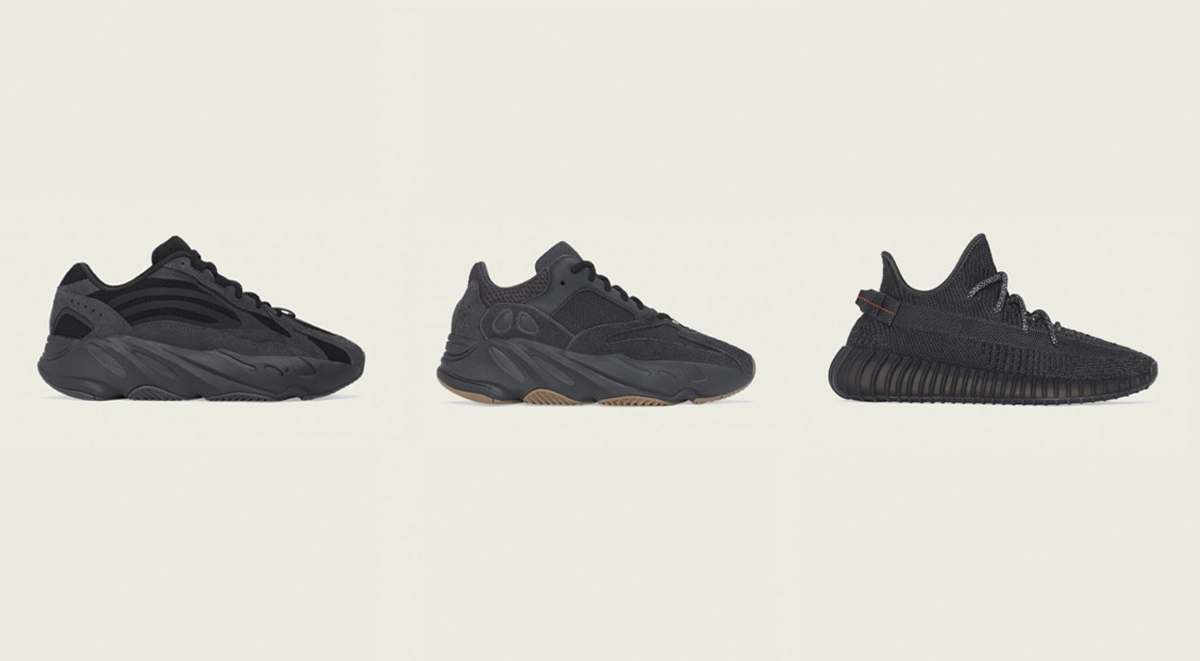yeezy 350 v2 black trio all black launch
