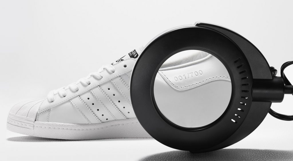Adidas x Prada Superstar edition label