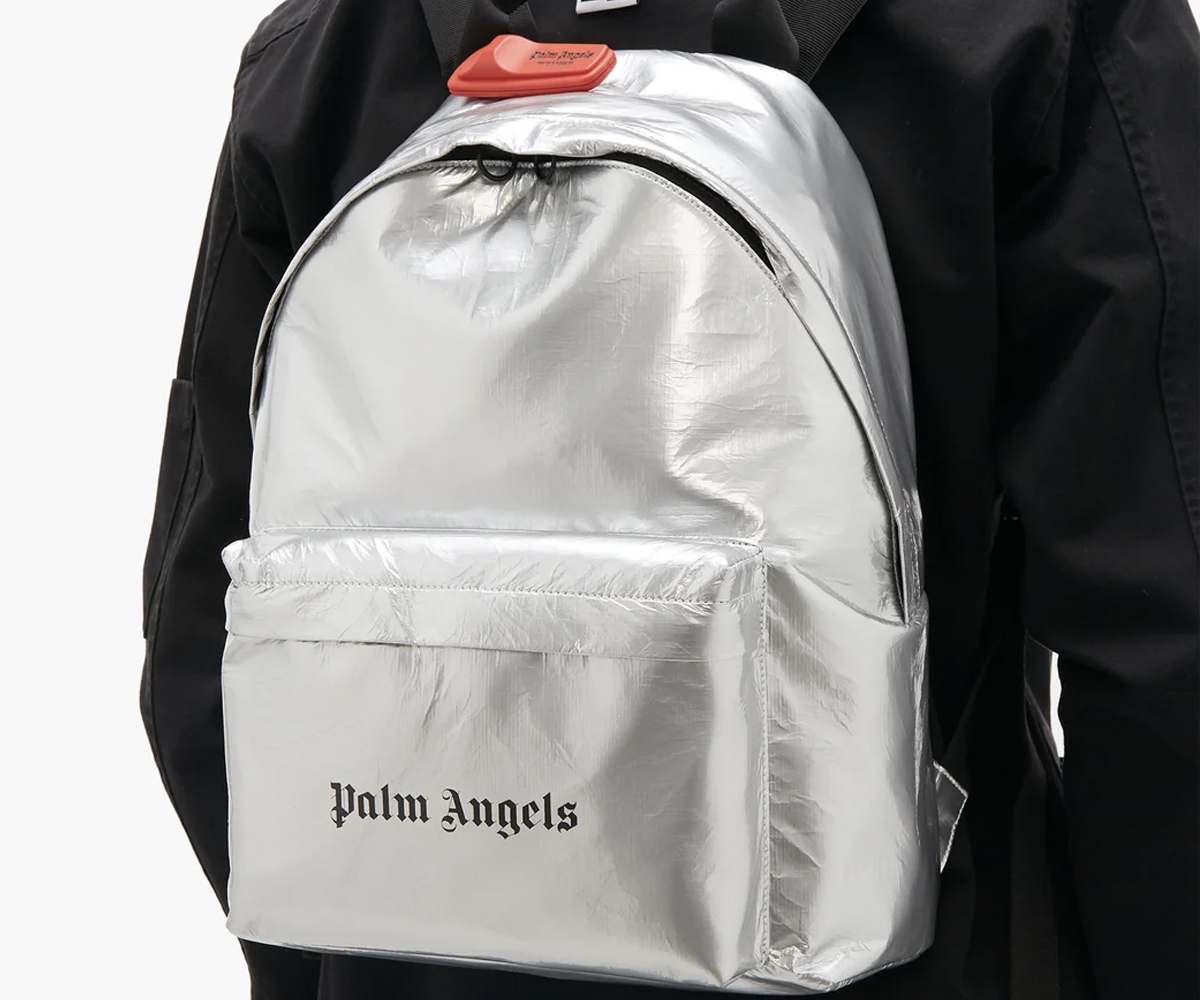 Christmas gift guide 2019 above 300 Palm Angels Logo-print metallic coated-cotton backpack