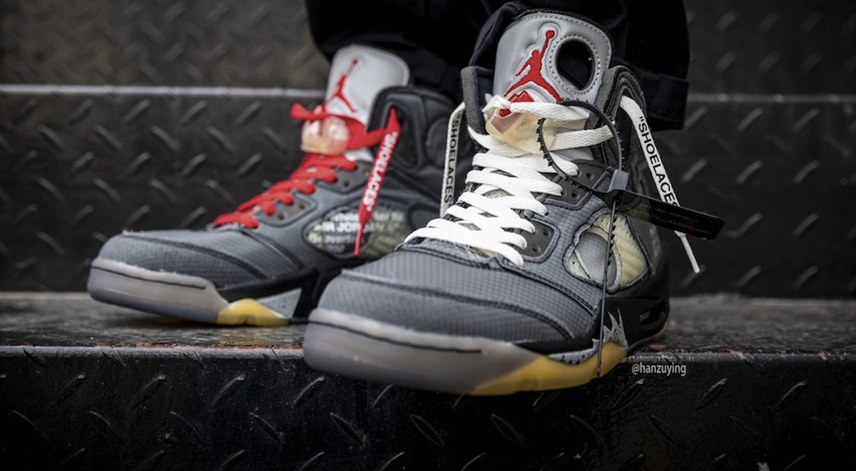 off-white x air jordan 5 on feet look 2019 images