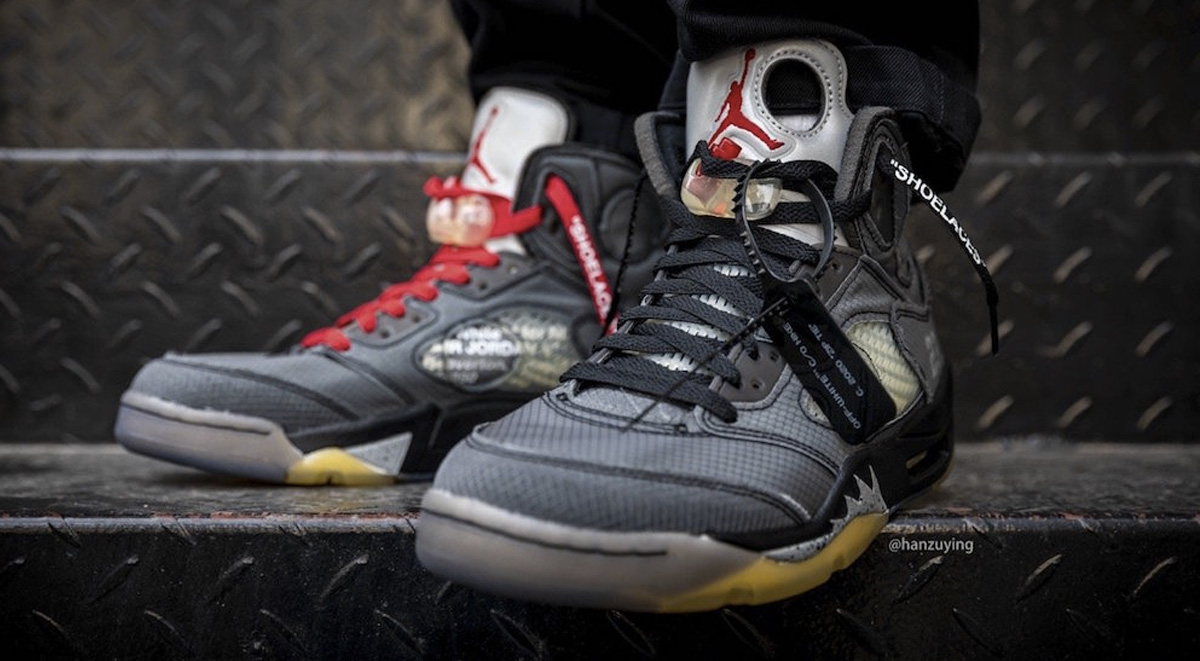 off-white x air jordan 5 on feet look 2019 laces combination images
