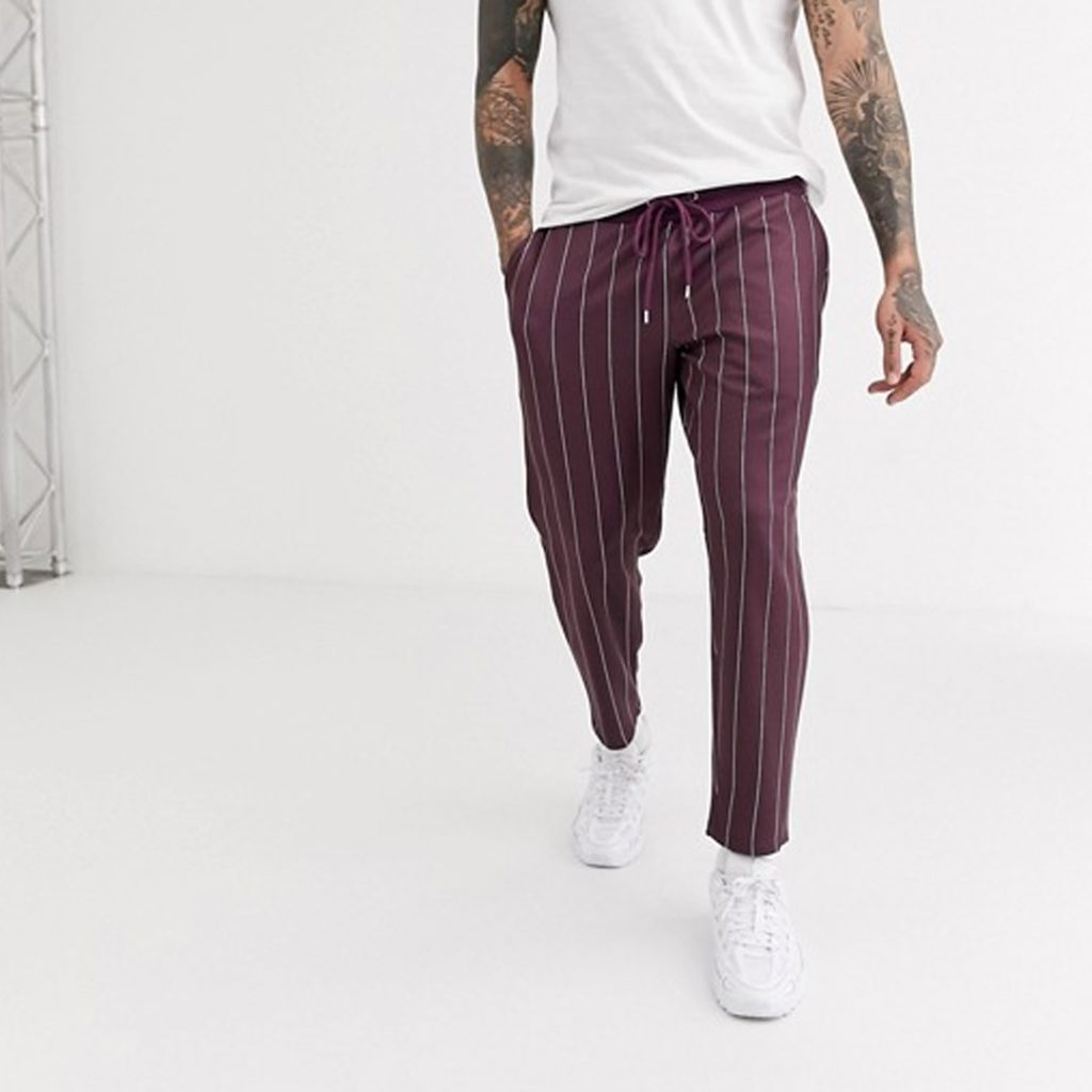 Chinese New Year Shopping Guide ASOS DESIGN poly tricot skinny joggers with pin stripe