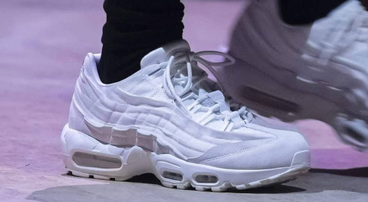 Comme des Garçons x Nike Air Max 95 white colorway runway modern notoriety