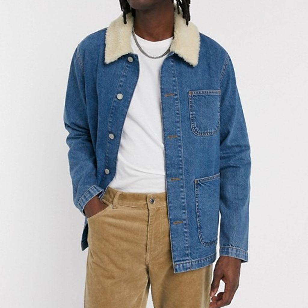 pantone 2020 blue Shopping Guide ASOS DESIGN denim worker jacket in blue with detachable borg collar asos
