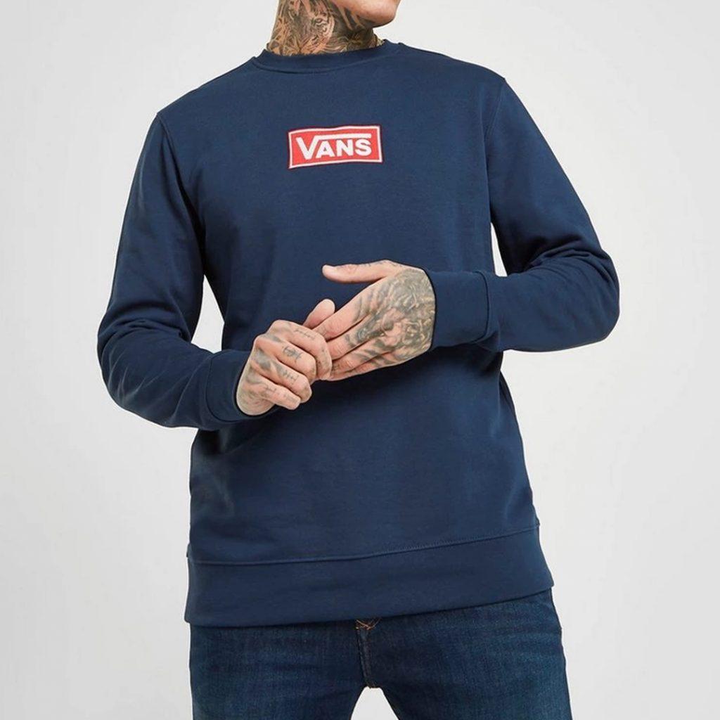 pantone 2020 blue Shopping Guide Vans Embroidered Box Logo Crew Sweatshirt JD Sports