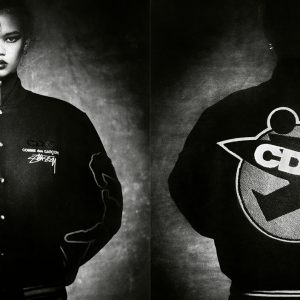 Stussy x CDG collaboration varsity jacket