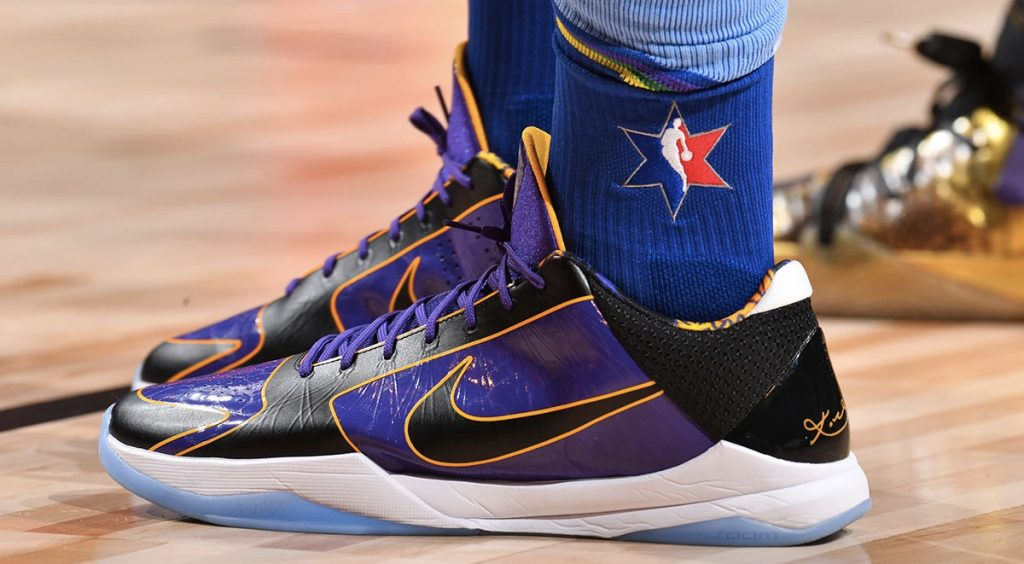 "Nike Zoom Kobe 5 Protro ""Lakers"" on court"