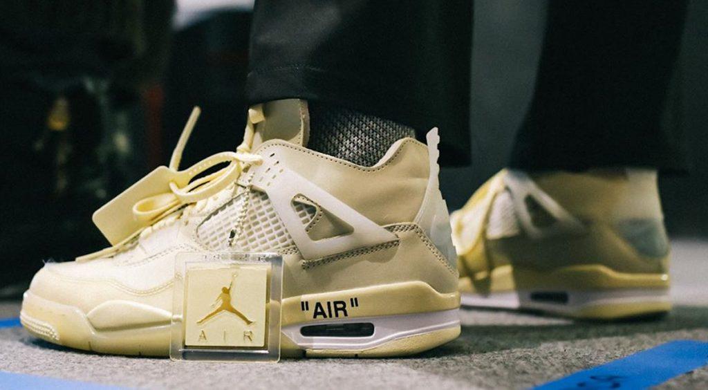 Off-White x Nike Air Jordan 4 on feet @karlhab