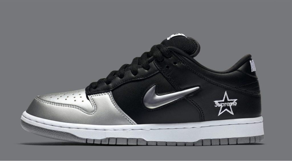 SS20 Supreme x Nike Air Force 1 Nike SB Dunk Low Supreme Jewel Swoosh Silver
