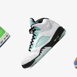 """Air Jordan 1 Mid """"Blue the Great"""" Air Jordan 1 Mid """"Melody Ehsani"""" Air Jordan 5 """"Island Green"""""""