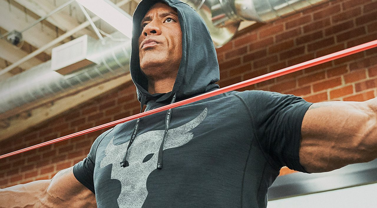 The Rock x Under Armour lifting weights
