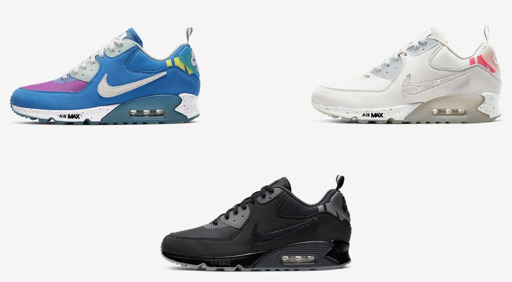 Undefeated x Nike Air Max 90 3 colorways