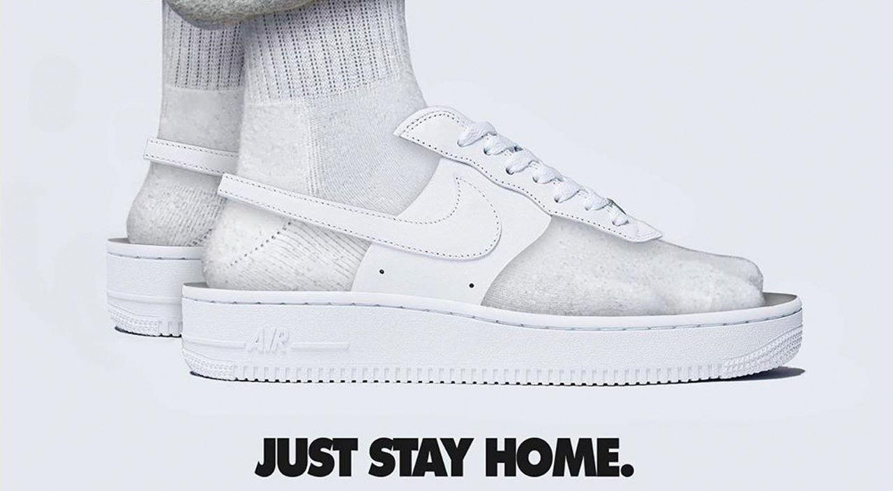 quarantine ready sneakers @krxone Air Force 1 Just Stay Home