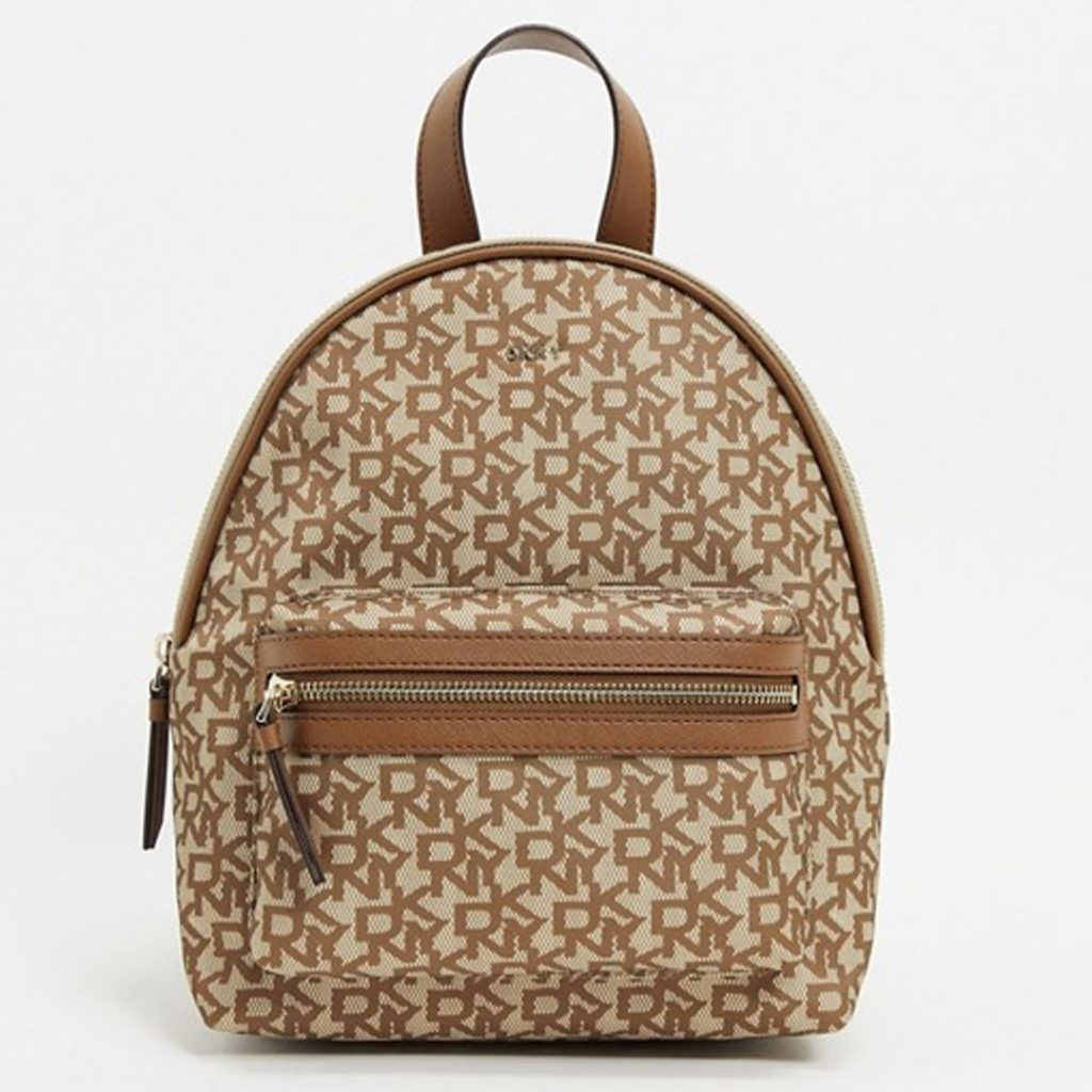 Mother's Day Gift Guide DKNY all over logo backpack in brown