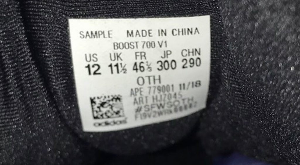 Yeezy Boost 700 CONCERT size tag