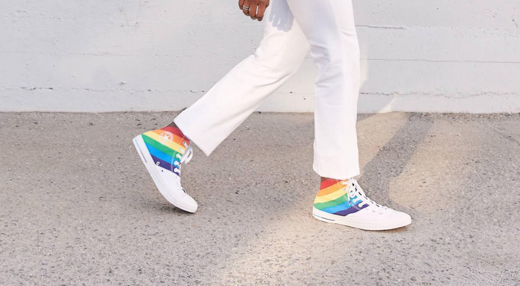 Nike and Converse Pride collection converse on feet