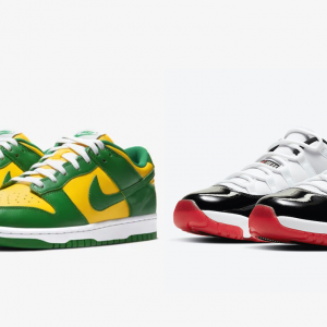 nike dunk low brazil air jordan 11 low concord bred singapore launch details footwear drops 2020