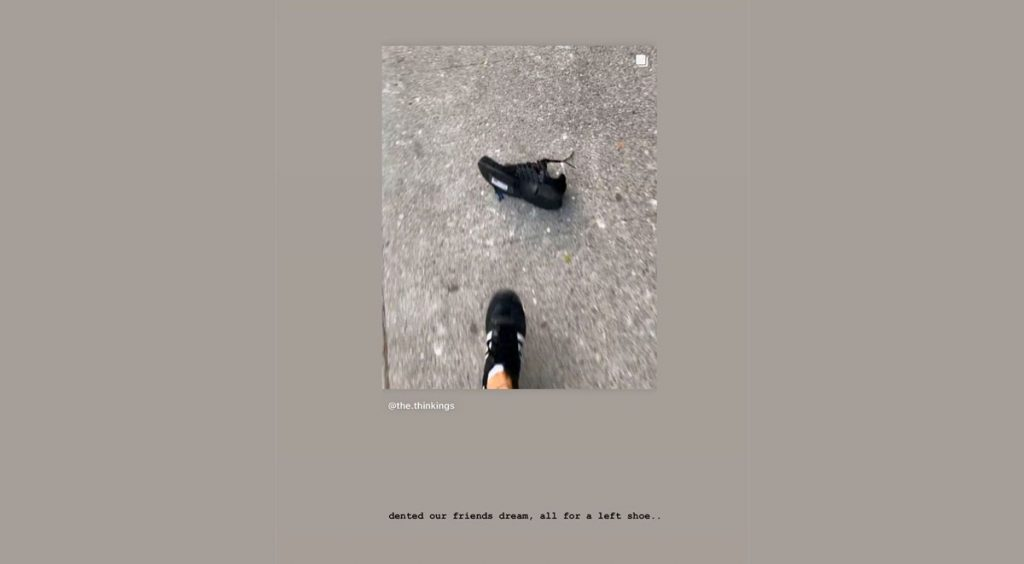 """Streetwear"" is dead Virgil Abloh Instagram Story left shoe"