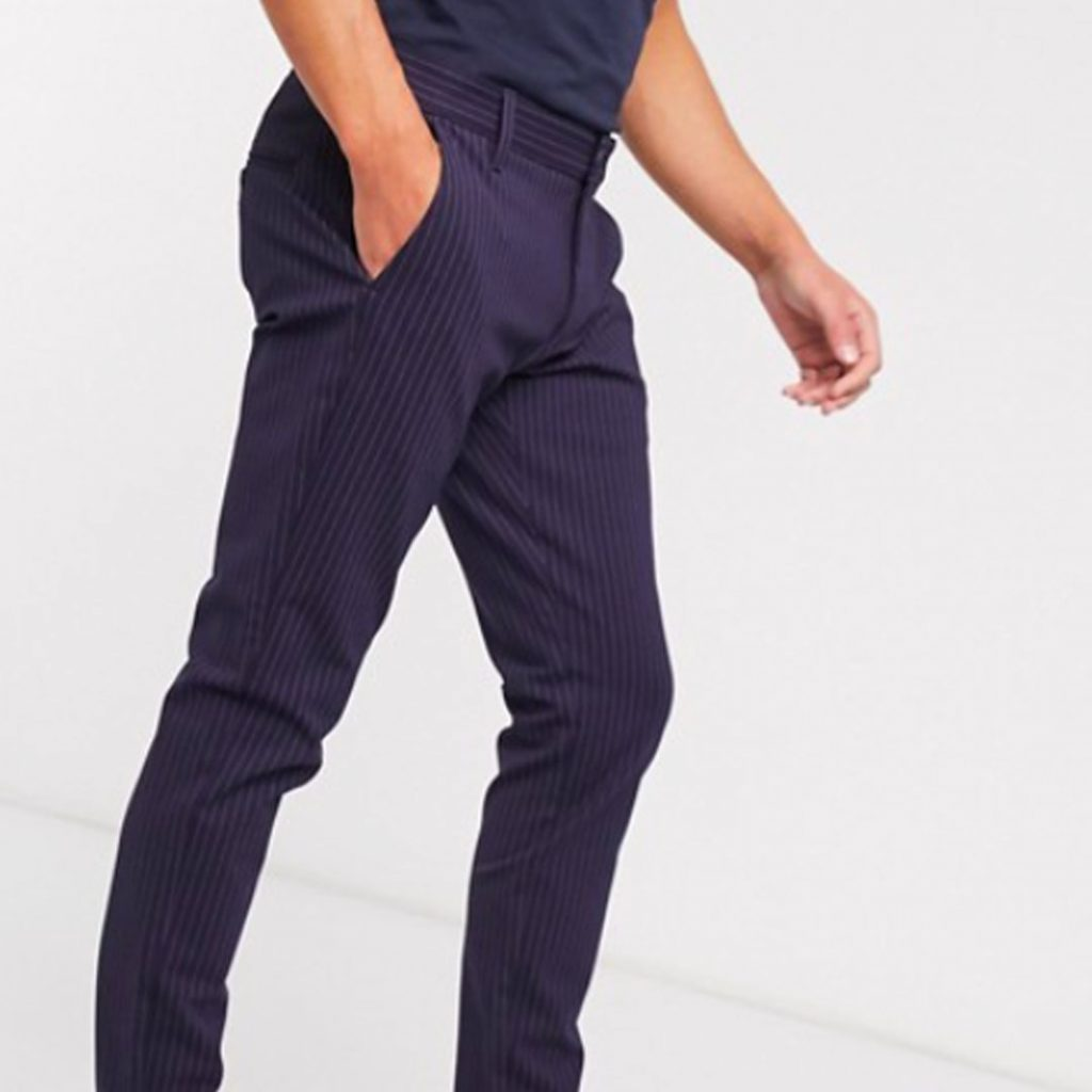 Father's Day Gift Guide 2020 Only & Sons stretch smart trouser in navy pinstripe