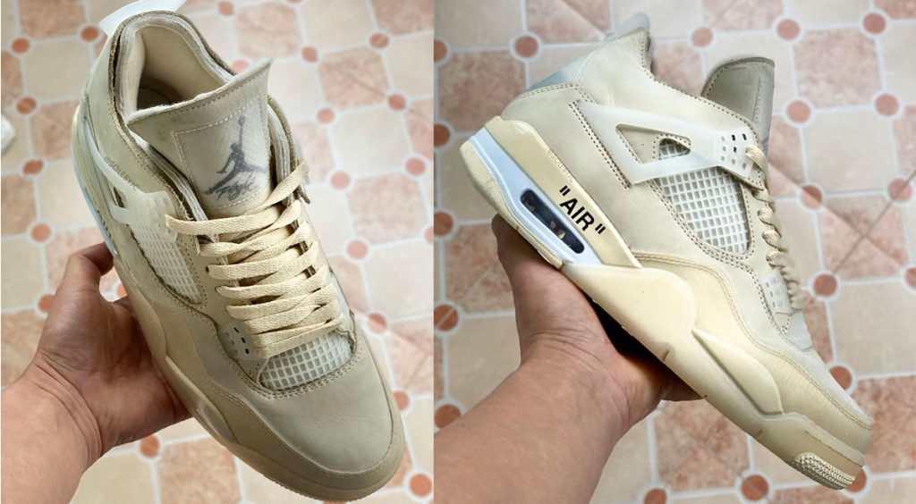"Off-White x Nike Air Jordan 4 ""Sail"" header solebyjc"