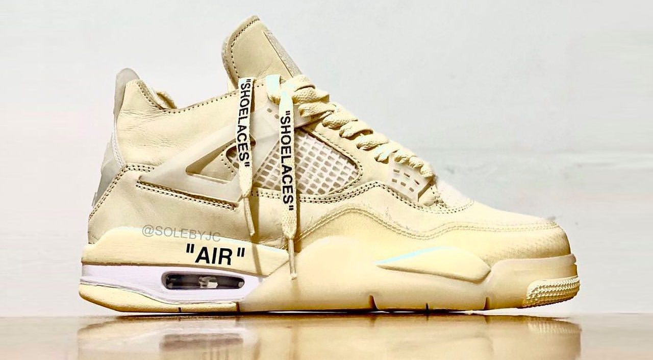 "Off-White x Nike Air Jordan 4 ""Sail"" leak @solebyjc"
