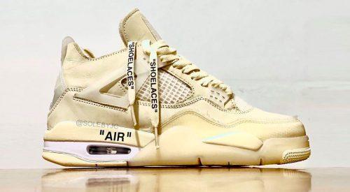 "Off-White x Nike Air Jordan 4 ""Sail"" leak @solebyjc"