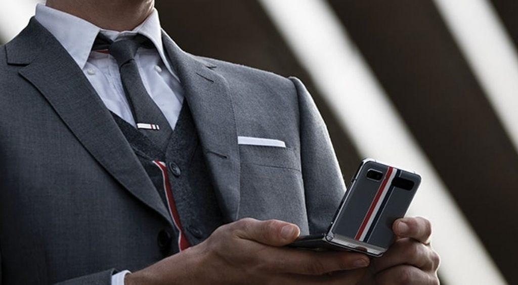 Samsung Galaxy Z Flip Thom Browne in-hand