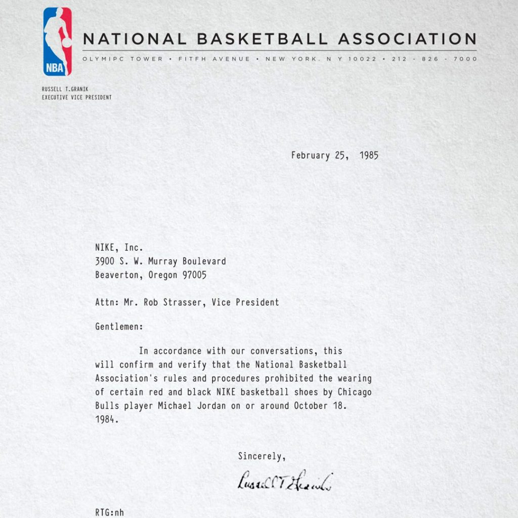 Banned Nike Air Ship banned letter